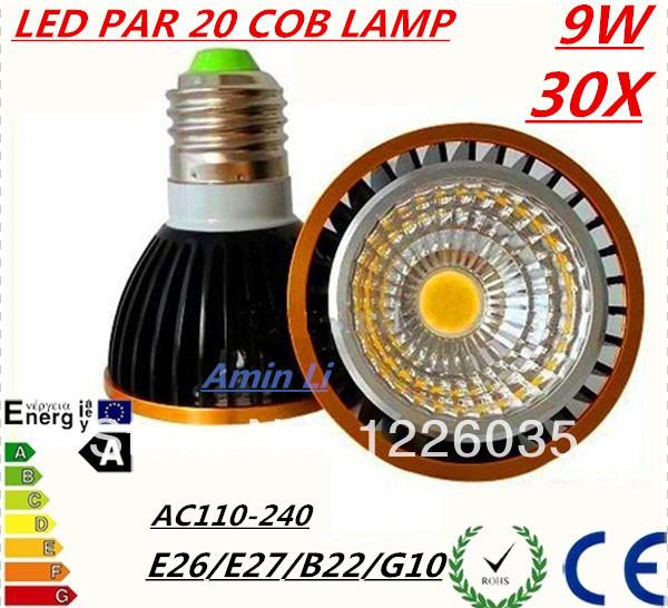 30X Brand New COB 9W PAR20 Led Lights Bulb 600 LM 120 Angle E27/E26/GU10AC110-240V Led Dimmable SpotlightsLamp Warm/Pure White(China (Mainland))