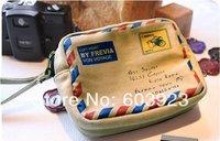 Free Shipping vintage Beige color envelope design bag,wallet Bag,camera bag&cosmetic bag