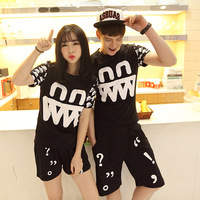 2014 summer casual short-sleeve T-shirt slim personality lovers short-sleeve print set