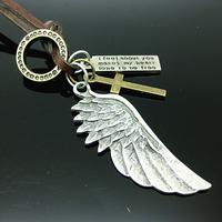 Genuine Leather Necklace Punk Vintage Cross Bar Angel Wings Pendant Necklace PXP034