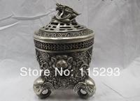 Tibet Buddhism Folk Temple Silver Dragon Lion Elephant Censer incense burner FREE Shipping