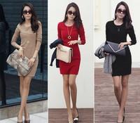 Free Shipping 2014 new autumn women's long-sleeve anti-wrinkle ol basic dress elegant plus size slim clothing