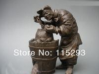 China pure Bronze roasted sweet Old man potatoes Art Statue  FREE Shipping