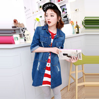 European Grand Prix 2014 spring new long section bars denim jacket sleeve denim shirt wholesale
