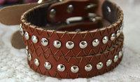 Free Shipping Pet Leather Collar Pet Hat-Peg Suture Leather Collar 100% Lather Pet Dog Collar