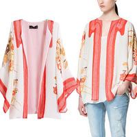 2014 Women's Fashion Coat Sweet Loose Print Fashion Japanese Style Jacket CHIFFON Free Shipping XTS013