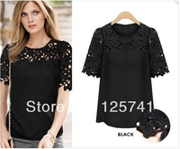 2014 New Fashion Ladies' elegant sexy Lace sleeve chiffon blouse vintage shirt hollow out knitted shoulder tops 3 colors S-XXL