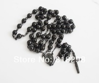 """MEN`S STAINLESS STEEL BLACK ROSARY CHAIN NECKLACE(30""""+5.5"""")8mm/106g"""