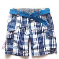 Children Boy Shorts 2014 Summer New Plaid Shorts with belt Cargo Shorts Checked burmudas Wholesale 2-10T 6pcs a lot Free Ship