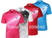 Free to Print Your Name and Logo 2014 new arrive 1 set  breathable Victor Badminton Shirt + shorts Jersey Badminton Clothes