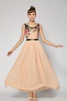 Super Elegant Women Floral Print Long Dress Chiffon Casual Sexy Ladies Maxi Dress Party Dress Plus Size 2014 New Fashion Summer