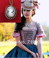 Free shipping wholesale 10pcs/lot Vampire Diaries Katherine's Cameo Pocket watch necklace movie jewelry,original factory supply