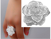 wholesale free shipping 925 sterling silver charm chi flower ring R212