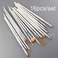 Free Shipping 16pcs/set Professional White Nail Art Brush Brushes Set Design Drawing Brushes Nail Tool