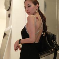 Racerback one-piece dress spaghetti strap black sexy long clothing skirt strapless slim hip clothing