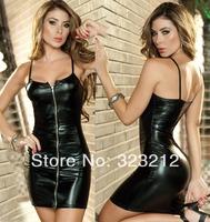 Special design front zipper strap women spring summer dress,black leather dress