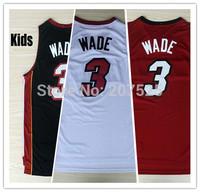 Kids Miami #3 Dwyane Wade Youth Basketball Jersey, New Fabrics REV 30 Kids Basketball Shirt, Free Shipping
