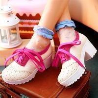 Lacing 2014 spring platform shoes thick heel single shoes princess high-heeled shoes color block decoration female shoes
