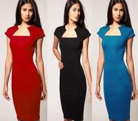 Summer fashion women's 2014 slit neckline sleeveless slim pencil skirt one-piece dress
