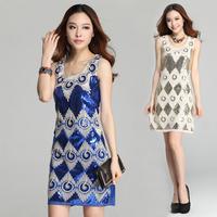 2014 Women New Fashion  good quality high elegant rhomrus sequins dress women slim fashion vest summer dress
