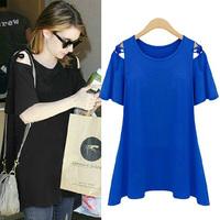 New 2014 plus size clothing belt ruffle slim stretch cotton short-sleeve t-shirt female