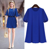 New Plus size clothing summer mm half sleeve one-piece dress female plus size 200 loose one-piece dress