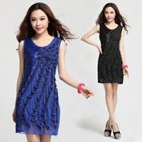 2014 Women New Fashion good quality high elegant 3D embroidery dress women slim fashion vest summer dress