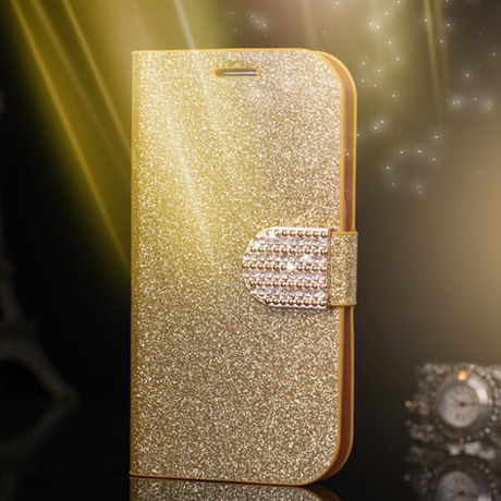 Luxury Glitter Diamond PU Wallet Leather Case For Samsung I9500 Galaxy S4 Samsung Galaxy S4 MINI Flip Buckle Stand Card Holder(China (Mainland))