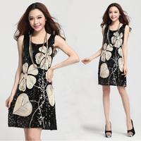 2014 Women New Fashion good quality high elegant sequined leaves dress women slim fashion vest summer dress