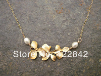 Minimum order $ 5 SALE Gold Orchid and Pearl Handmade Necklace in 14K Gold Filled, Gold Bridal Necklace