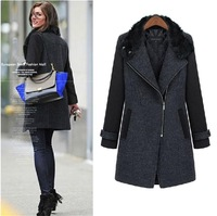 New Fashion plus size winter clothing slim rabbit fur woolen outerwear long design