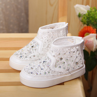 2014 Summer Child Children Shoes Sandals Rhinestone Mesh Breathable Cutout Boots Baby  Shoes Network Shoes  Lace Kids Shoes