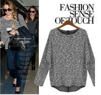 New Fashion plus size female spring fashion loose mm long-sleeve sweater basic sweater t-shirt
