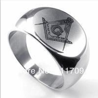Free shipping 316L Stainless Steel Silverish Casting Polishing Freemasonry Freemasons Symbol Rings ,Free and Accepted Masons