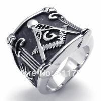 Free shipping US Size (8#--15#) 316L Stainless Steel Freemasonry Freemasons Symbol masonic rings o Men's Ring Jewelry