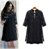 New Spring fashion high quality 2014 women's plus size slim lace one-piece dress