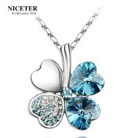 Niceter crystal lucky four leaf clover necklace female short design chain pendant