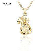 Austria crystal necklace lucky moneybag female fashion design short chain