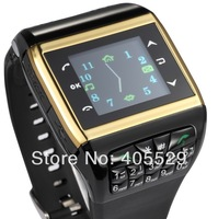 Free shipping  Dual Sim Card watch cell phone Quad Band Compass Camera FM Bluetooth Headset Touch Screen watch mobile;