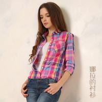 2014 Autumn  Hot Sale New Fashion 100% Cotton Colourful Plaid  Women Blouse Plus Size Casual All-Match Women Blouse