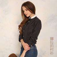 2014 Autumn  Hot Sale New Fashion Slim 100% Cotton Lattice White  Women Blouse  O-neck Plus Size All-match Women Blouse