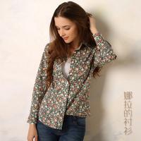 Hot Sale New Fashion All The Little Flower Spot 2014 Women Blouse 100% Cotton O-neck Long-sleeve Women Blouse