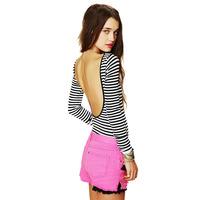Back racerback stripe long-sleeve slim female black and white stripe high-elastic long-sleeve T-shirt haoduoyi