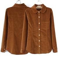 Fresh autumn and winter women fashion vintage slim thickening corduroy shirt