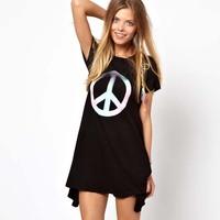 Print black short-sleeve dress haoduoyi