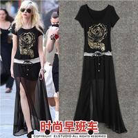 5620 patchwork summer short-sleeve fashion women's bronzier vent chiffon full dress long design one-piece dress