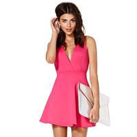 Fashion tantalising nika herringbone cross back suspenders Pink haoduoyi sleeveless one-piece dress