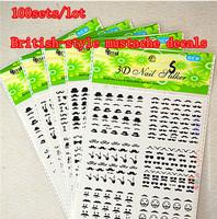100 sets 2014 Newest  3D Nail Art Stickers British Style Mustache Nail Art  Fashion Retro Design Nail Decorations MS01