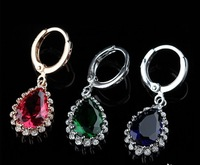 2.5cm weight 60g per pair wholesale price 8pairs/lot true gold plated  classic luxury zircon earrings for women