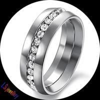 Korean Simple Design Titanium Steel Crystal Diamond Engagement Men's Rings